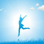 Girl jumping against the blue sky